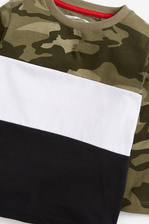 Next Green Long Sleeve Jersey Camo Colourblock T Shirt (3mths-7yrs)