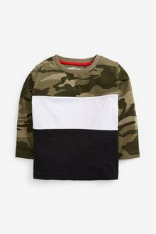 Next Green Long Sleeve Jersey Camo Colourblock T Shirt (3mths-7yrs) - 280145