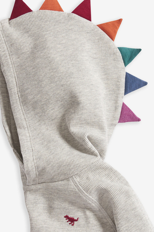 Next Grey Marl Long Sleeve Textured Dino Spikes Hoody (3mths-7yrs)