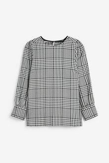 Next Monochrome Check Puff Sleeve Blouse - 280156