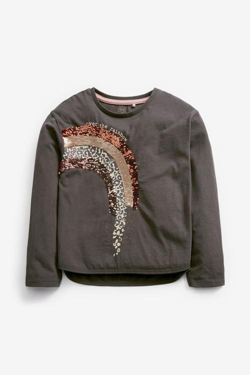 Charcoal Rainbow Sequin T-Shirt