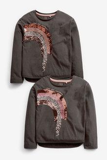 Charcoal Rainbow Sequin T-Shirt - 280161