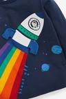 Navy Long Sleeve Rainbow Rocket T-Shirt