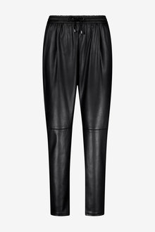 Black Faux Leather Joggers - 280185