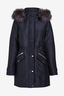 Next Navy Faux Fur Hooded Parka - 280219