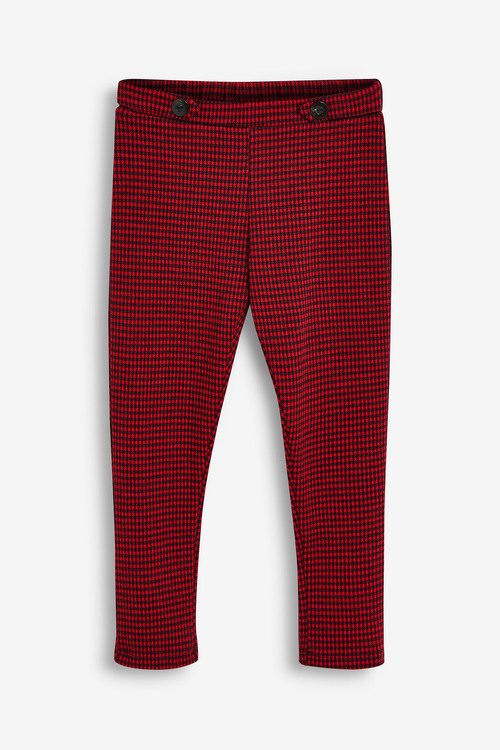 Next Red Check Ponte Trousers (5-16yrs)