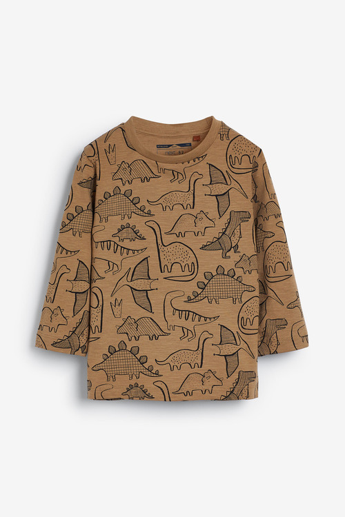 Next Tan Long Sleeve Dino Printed T-Shirt