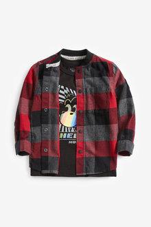 Red Long Sleeve Check Baseball Shirt And T-Shirt Set - 280247