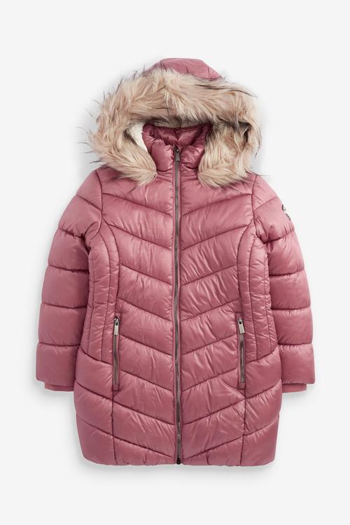 Pink Faux Fur Trim Shower Resistant Padded Coat