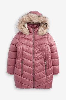 Pink Faux Fur Trim Shower Resistant Padded Coat - 280255