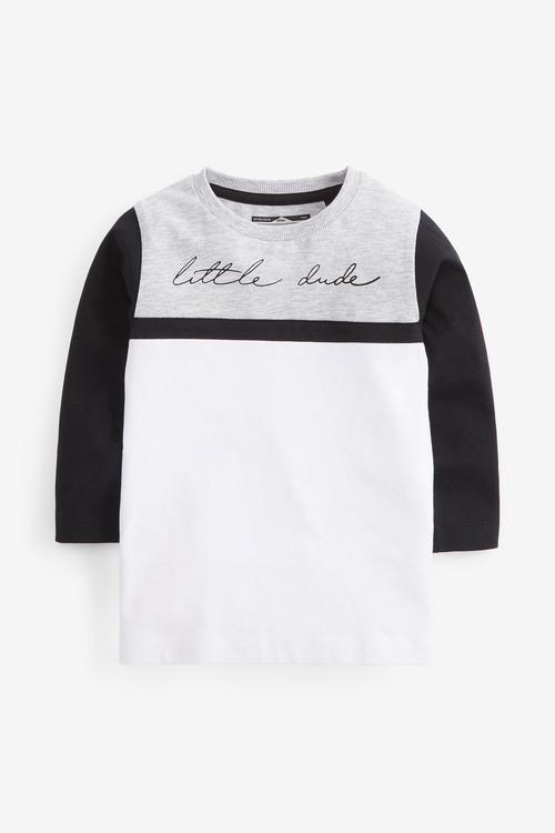 Grey Long Sleeve Jersey Colourblock T-Shirt