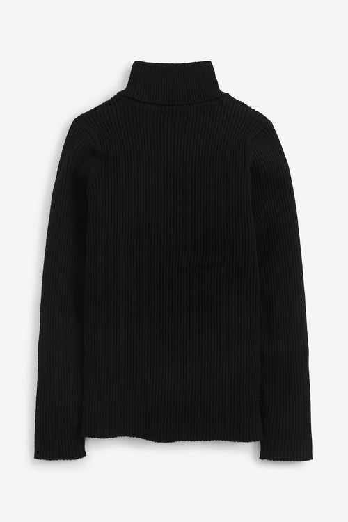 Black Knitted Roll Neck Top