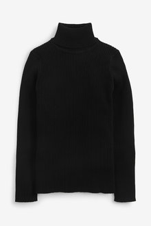 Black Knitted Roll Neck Top - 280310
