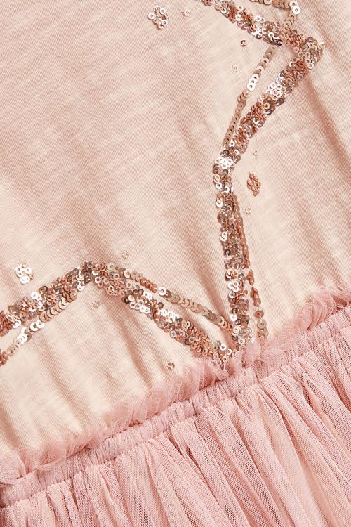 Pink Sequin Star Tulle Skirt Dress