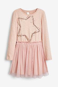 Pink Sequin Star Tulle Skirt Dress - 280317