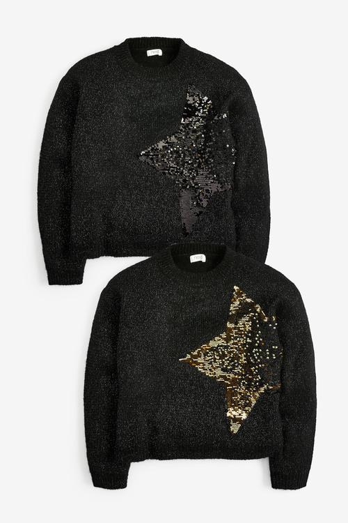 Black Sequin Star Jumper