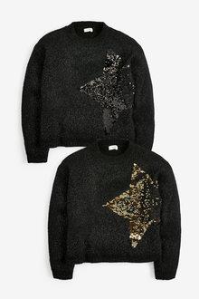 Black Sequin Star Jumper - 280323