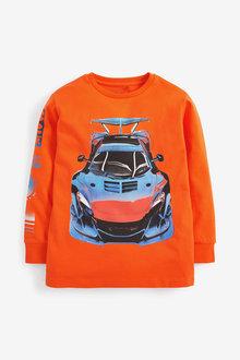 Orange Long Sleeve Car Graphic T-Shirt - 280325