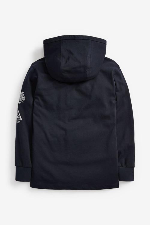 Navy Long Sleeve Skull Hooded T-Shirt