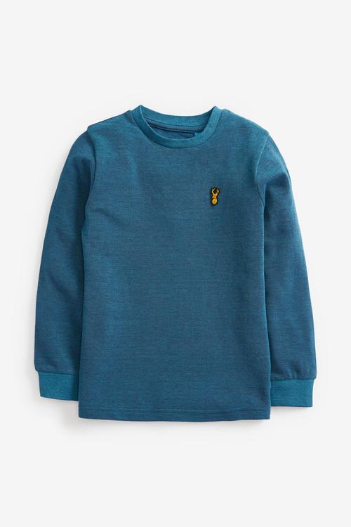 Teal Long Sleeve Pique T-Shirt