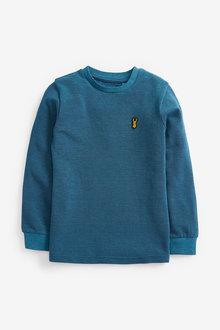 Teal Long Sleeve Pique T-Shirt - 280336