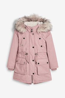 Pink Faux Fur Trimmed Shower Resistant Parka - 280338