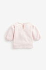 Pink Sparkle Swan Puff Sleeve Top