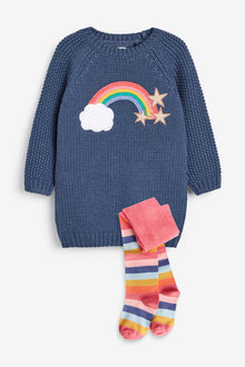 Navy Rainbow Jumper Dress With Tights - 280431