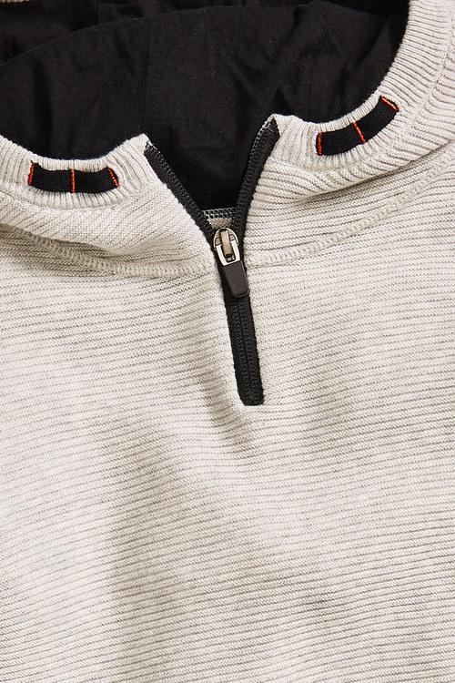 Grey Ripple Knitted Zip Neck Hoody