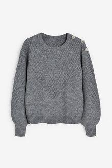 Grey Gem Button Shoulder Jumper - 280447