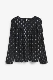 Next Black Print Long Sleeve Yoke Detail T-Shirt - 280453