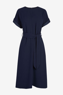 Navy Belted Midi Dress - 280454