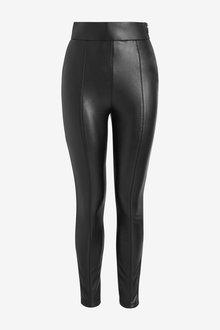 Black Faux Leather PU Leggings - 280456