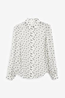 Next Ecru Spot Sparkle Shirt - 280457