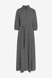 Next Black Geo Belted Maxi Shirt Dress - 280464