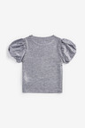 Silver Party Bubble Sleeve Top