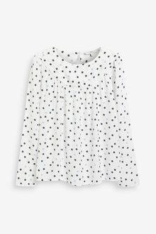 Next Ecru/Navy Spot Print Long Sleeve Yoke Detail T-Shirt - 280483