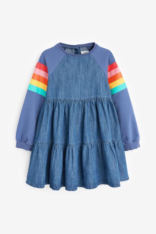 Next Raglan Tiered Denim Dress (3-16yrs)