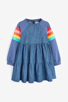 Next Raglan Tiered Denim Dress (3-16yrs) - 280669