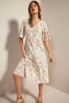 Emerge Flutter Sleeve Midi Dress - 280886