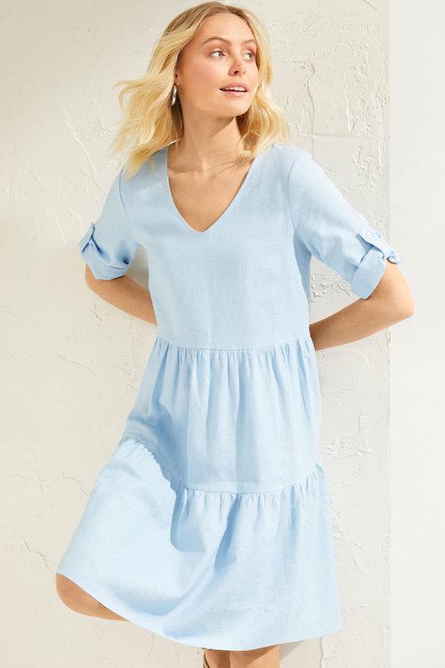 Emerge Linen Blend Tab Sleeve Dress