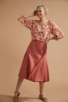 Emerge Linen Blend Mock Wrap Skirt - 280891
