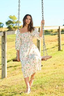 Emerge Shirred Bodice Midi Dress - 280900