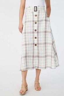 Grace Hill Linen Blend Button Up Skirt - 280928