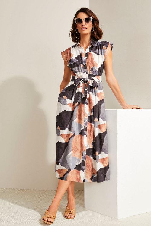 Grace Hill Linen Bld Button Through Dress