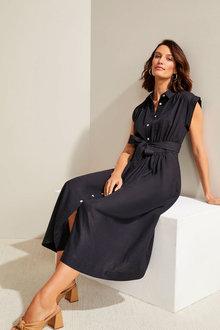 Grace Hill Linen Bld Button Through Dress - 280934