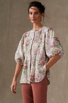 Grace Hill Pintuck Blouson Sleeve Shirt - 280936