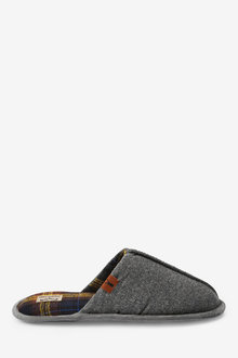 Next Check Lined Felt Mule Slippers - 281147
