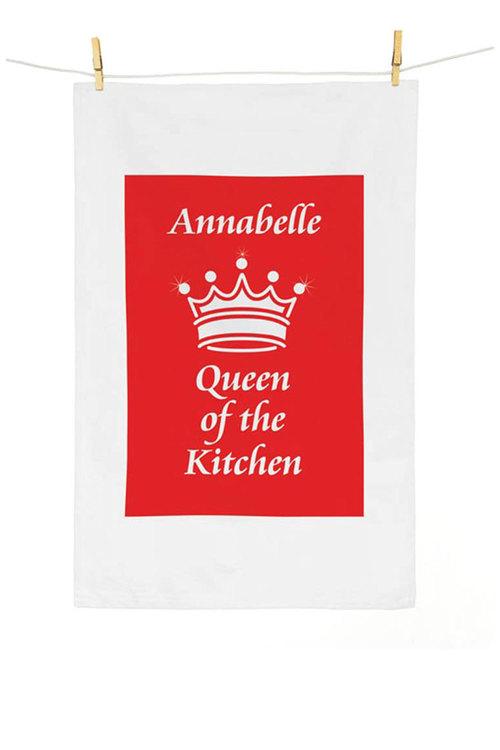Personalised Queen of the Kitchen Tea Towel