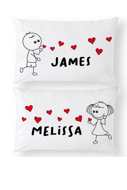 Personalised Blowing Kisses Pillowcase Set